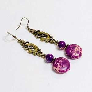 Long Bright Purple Jasper & Antique Brass Earrings